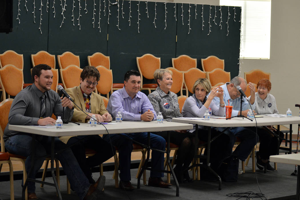 (Celia Shortt Goodyear/Boulder City Review) City Council candidates, from left, Trenton Motley, James Adams, Rich Shuman, Peggy Leavitt, Claudia Bridges, Tom Tyler and Judy Dechaine, participate i ...