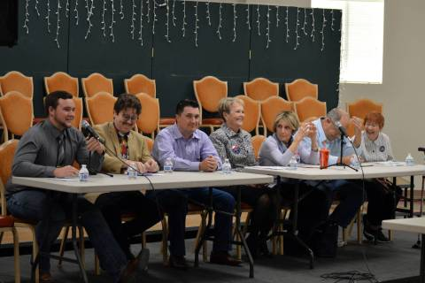 (Celia Shortt Goodyear/Boulder City Review) City Council candidates, from left, Trenton Motley, James Adams, Rich Shuman, Peggy Leavitt, Claudia Bridges, Tom Tyler and Judy Dechaine, participate i ...