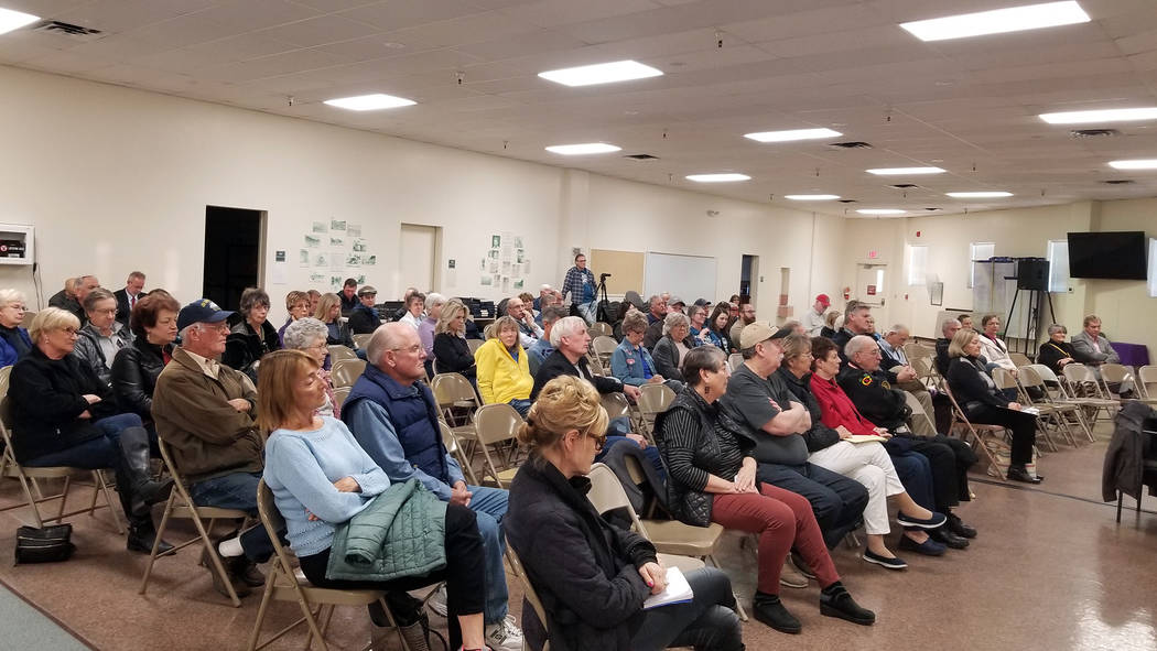 (Celia Shortt Goodyear/Boulder City Review) Residents attend a City Council candidate forum March 13 at the Elaine K. Smith Building.