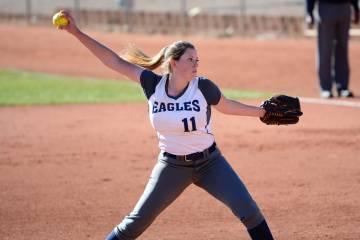 (Robert Vendettoli/Boulder City Review) Abby Giunta, a senior at Boulder City High School, throws a strike against Western on March 13 in the Lady Eagles' 19-4 victory. Giunta struck out four batt ...