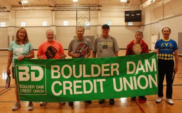(Boulder City Parks and Recreation Department) Pickleball players, from left, Kathy VanNoordt, ...