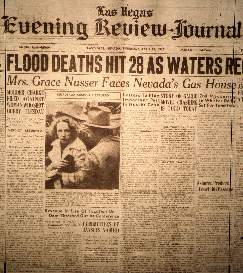 The front page of the Las Vegas Evening Review-Journal is shown from April 29, 1937. Included o ...