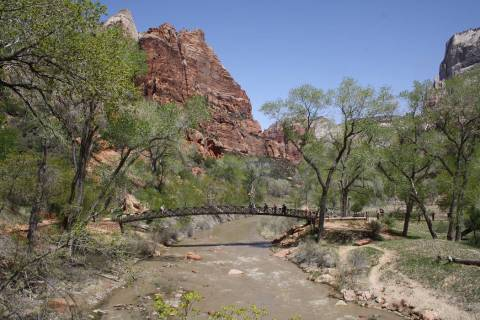 (Deborah Wall) A footbridge is used by hikers to cross over the North Fork of the Virgin River ...