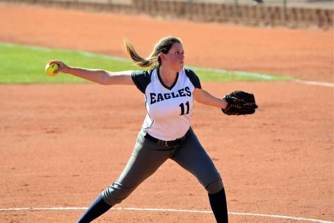 (Robert Vendettoli/Boulder City Review) Senior pitcher Abby Giunta throws a strike down the mid ...