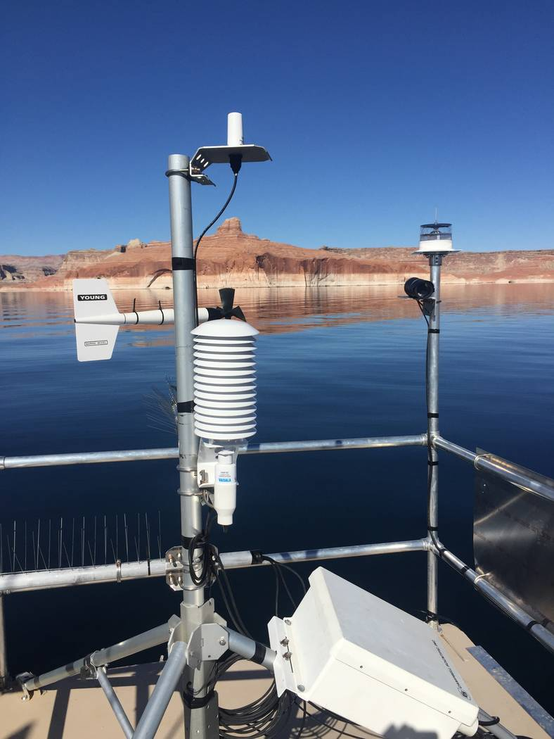 (Desert Research Institute) Instruments on a floating platform at Lake Powell will spend the ne ...