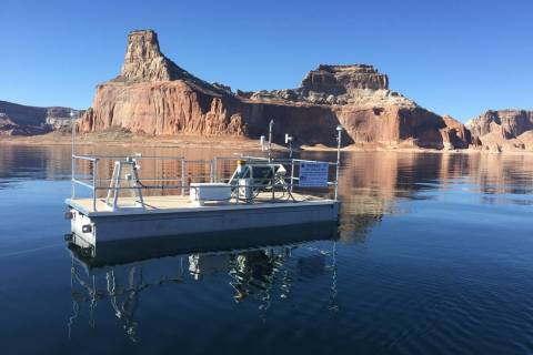(Desert Research Institute) A remote evaporation station floats in Lake Powell on Nov. 7, 2018.
