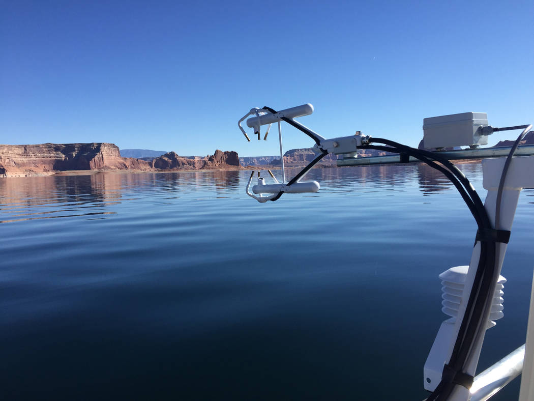 (Desert Research Institute) Several methods of measuring evaporation are being tested at Lake P ...