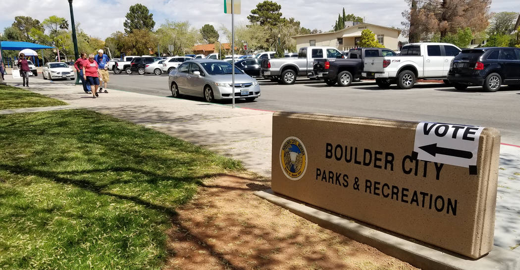 (Celia Shortt Goodyear/Boulder City Review) Residents cast their votes for the primary election ...