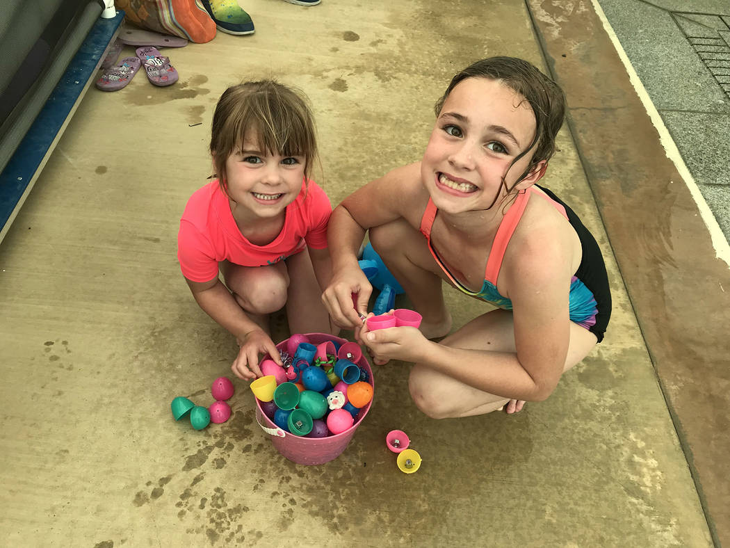 (Hali Bernstein Saylor/Boulder City Review) Hayden, left, and Taylor Reeves show off a few of t ...