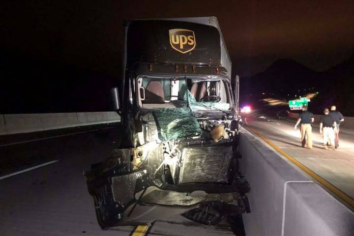 (Nevada Highway Patrol) A UPS tractor-trailer sustained severe damage in a head-on crash with a ...