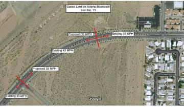 (Boulder City) The speed limit on Adams Boulevard from Bristlecone Drive to Buchanan Boulevard ...