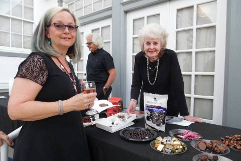 Donna Hieleman, left, looks over the selection of chocolates available as Barb Morris makes rec ...