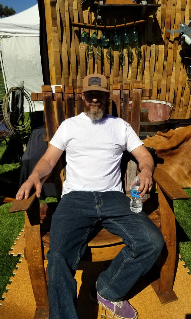 (Celia Shortt Goodyear/Boulder City Review) Jason Wright of Wright Designs sits in a chair he m ...