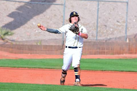 (Robert Vendettoli/Boulder City Review) Sophomore Blaze Trumble, who scooped a ground ball and ...