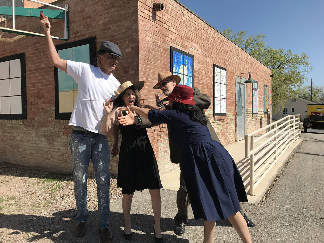 (Hali Bernstein Saylor/Boulder City Review) Reheasing a scene from the Boulder City History &am ...