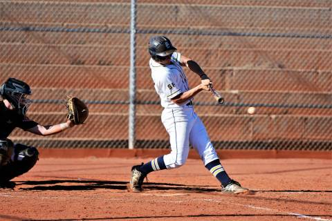 (Robert Vendettoli/Boulder City Review) Senior Jimmy Dunagan hits a line drive up the middle ag ...