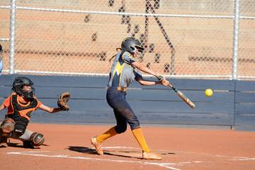 (Robert Vendettoli/Boulder City Review) Boulder City High School senior Ryann Reese hits the ba ...