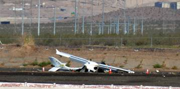 Celia Shortt Goodyear/Boulder City Review One person was injured when a small plane carrying tw ...