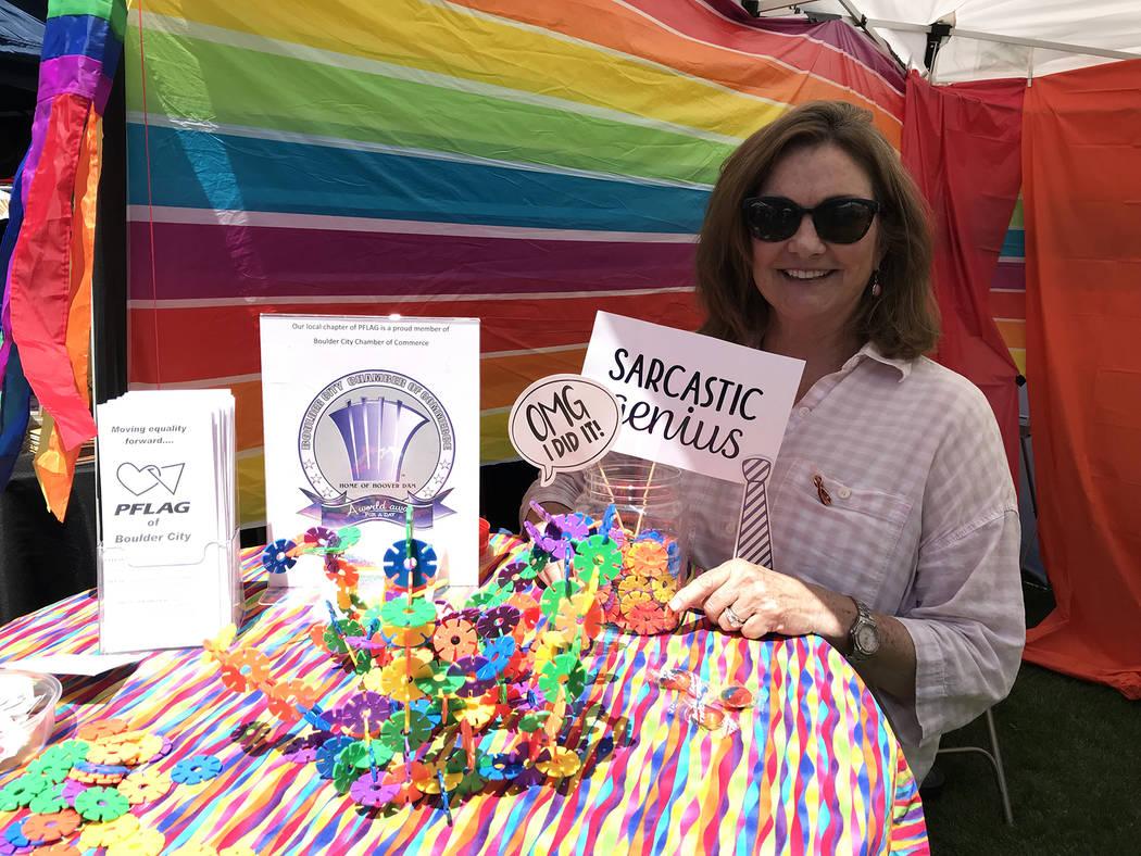 (Hali Bernstein Saylor/Boulder City Review) Susan Stark invited passersby into PFLAG of Boulder ...