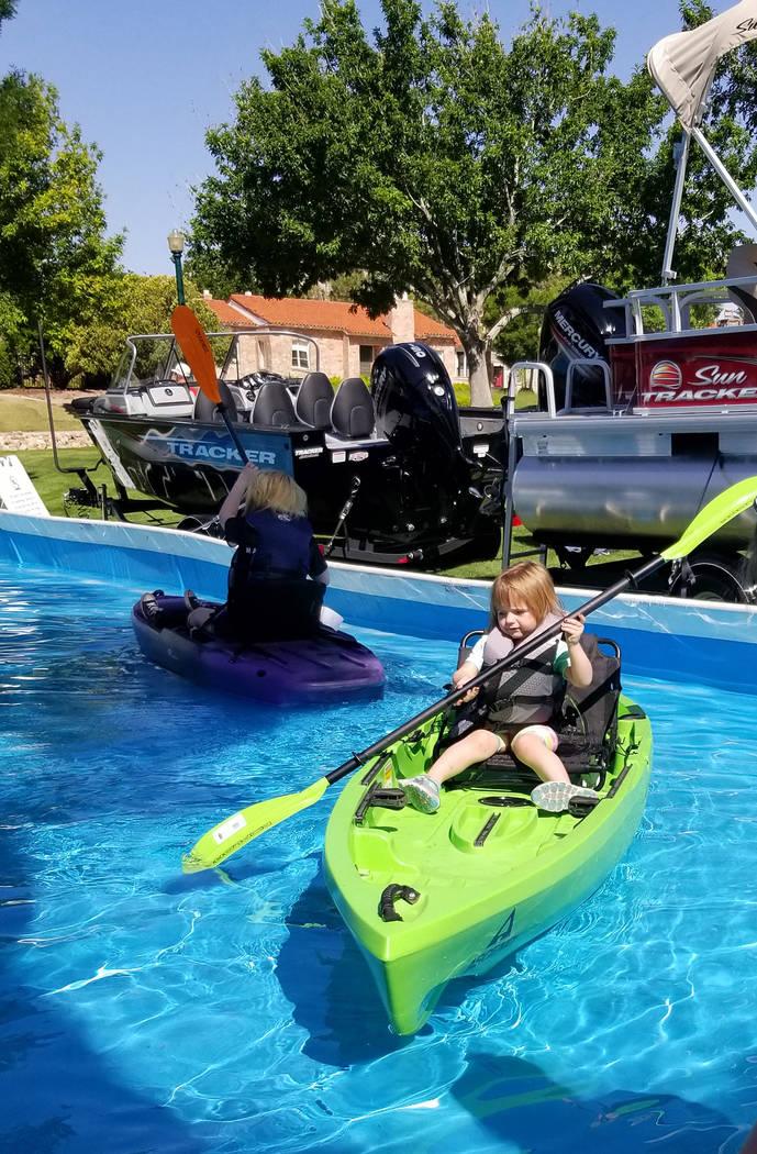 (Celia Shortt Goodyear/Boulder City Review) Lilia Coffey navigates a kayak during Get Outdoors ...