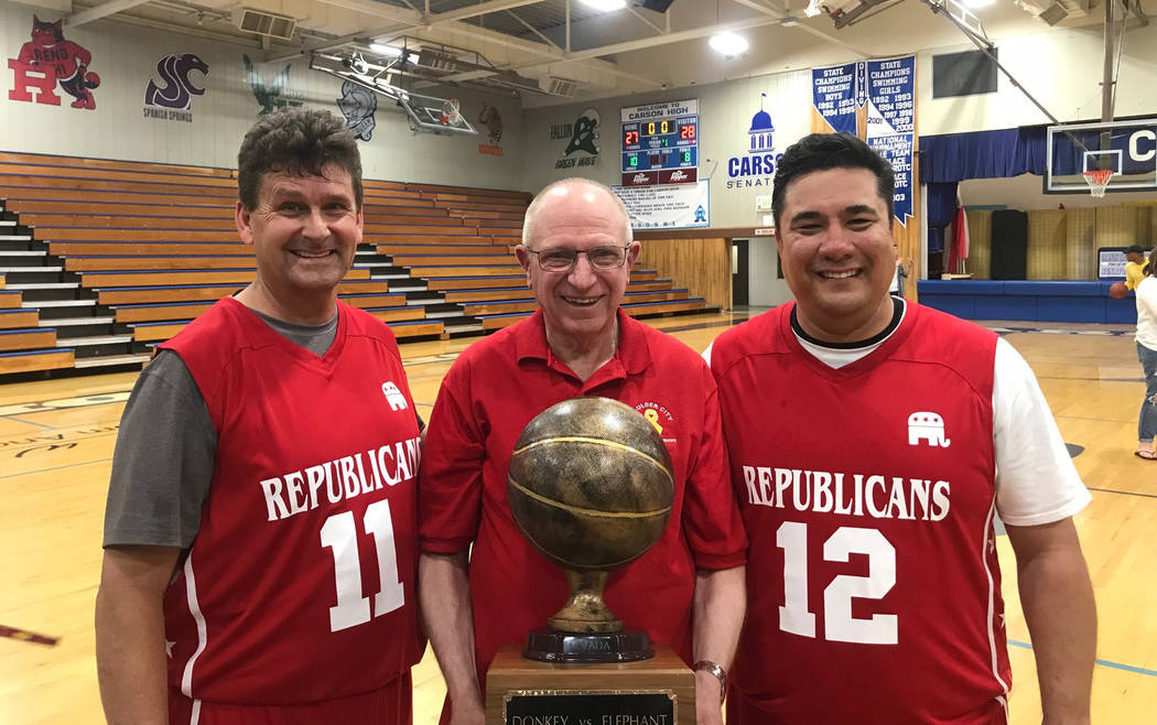 (Blayne Osborn) Mayor Rod Woodbury, from left, Sen. Dr. Joe Hardy and Assemblyman Glen Leavitt, ...