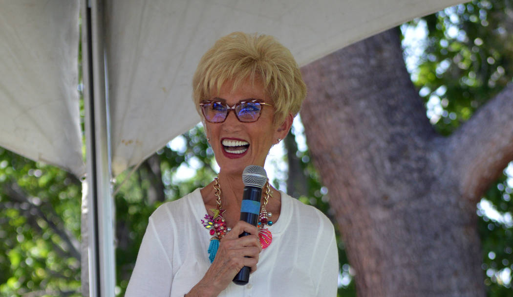 (Celia Shortt Goodyear/Boulder City Review) Cokie Booth announces a winner during Bark in the P ...