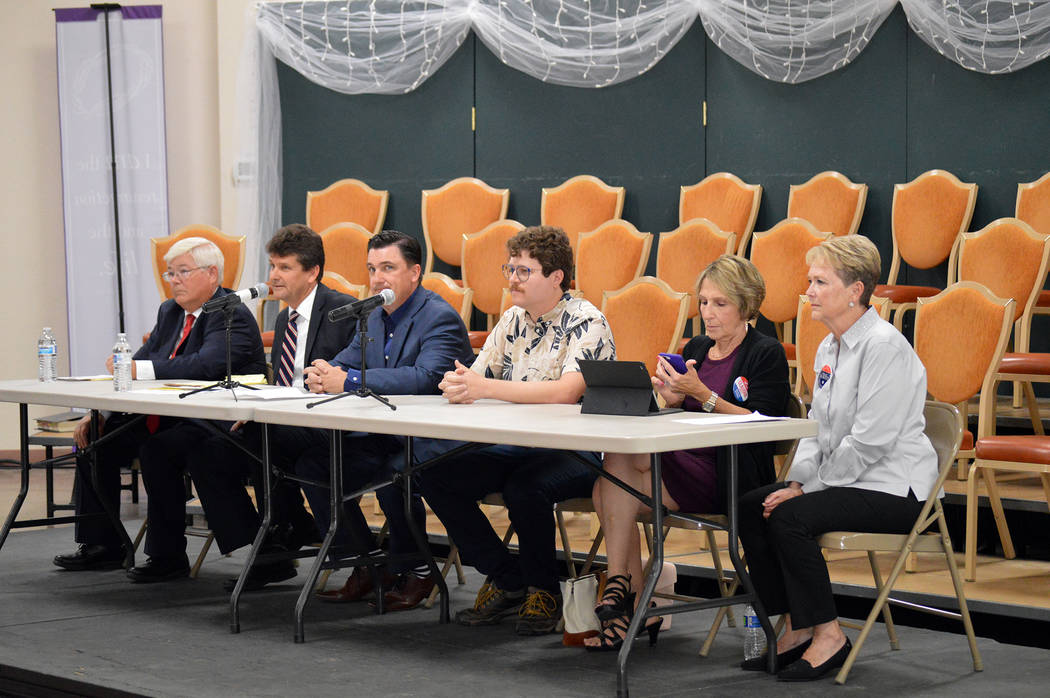 (Celia Shortt Goodyear/Boulder City Review) Mayoral and City Council candidates participate in ...