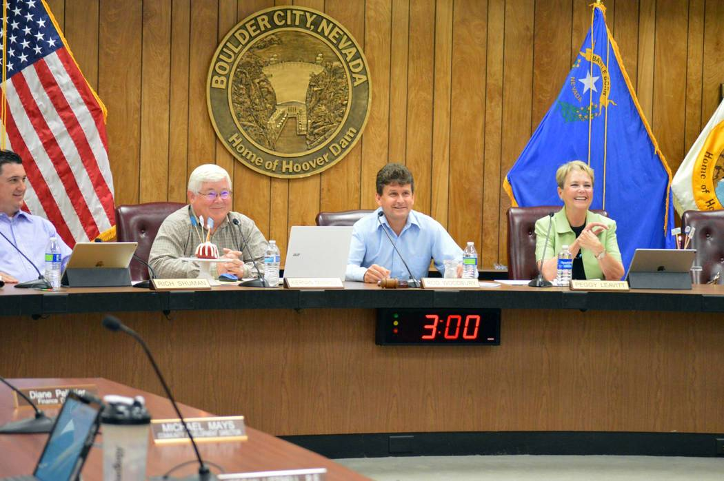 (Celia Shortt Goodyear/Boulder City Review) City Council celebrated the birthdays of Councilman ...