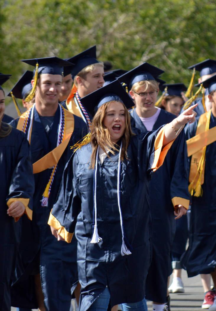(Celia Shortt Goodyear/Boulder City Review) Boulder City High School senior Morgan McKay greets ...