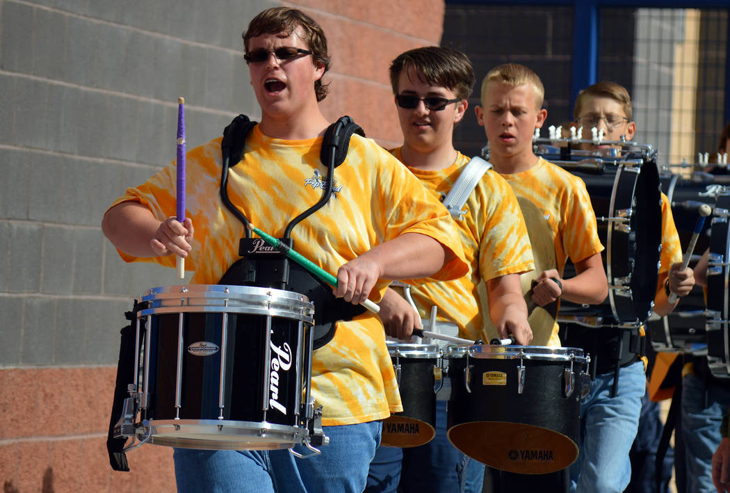 (Celia Shortt Goodyear/Boulder City Review) The Boulder City High School drum line, from left, ...
