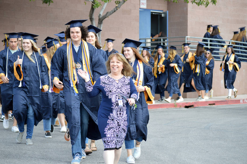 (Celia Shortt Goodyear/Boulder City Review) Boulder City High School Principal Amy Wagner, cent ...