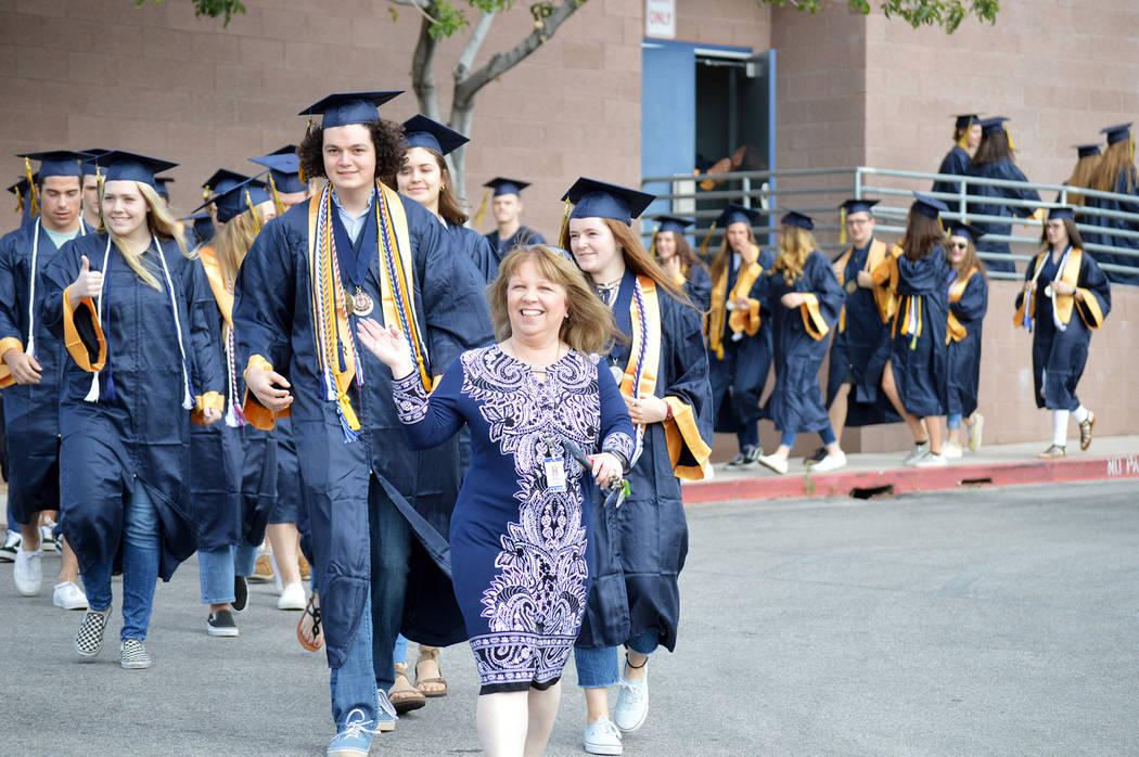 (Celia Shortt Goodyear/Boulder City Review) Boulder City High School Principal Amy Wagner, cent ...