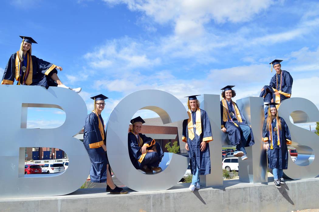(Celia Shortt Goodyear/Boulder City Review) Boulder City High School introduces its six valedic ...