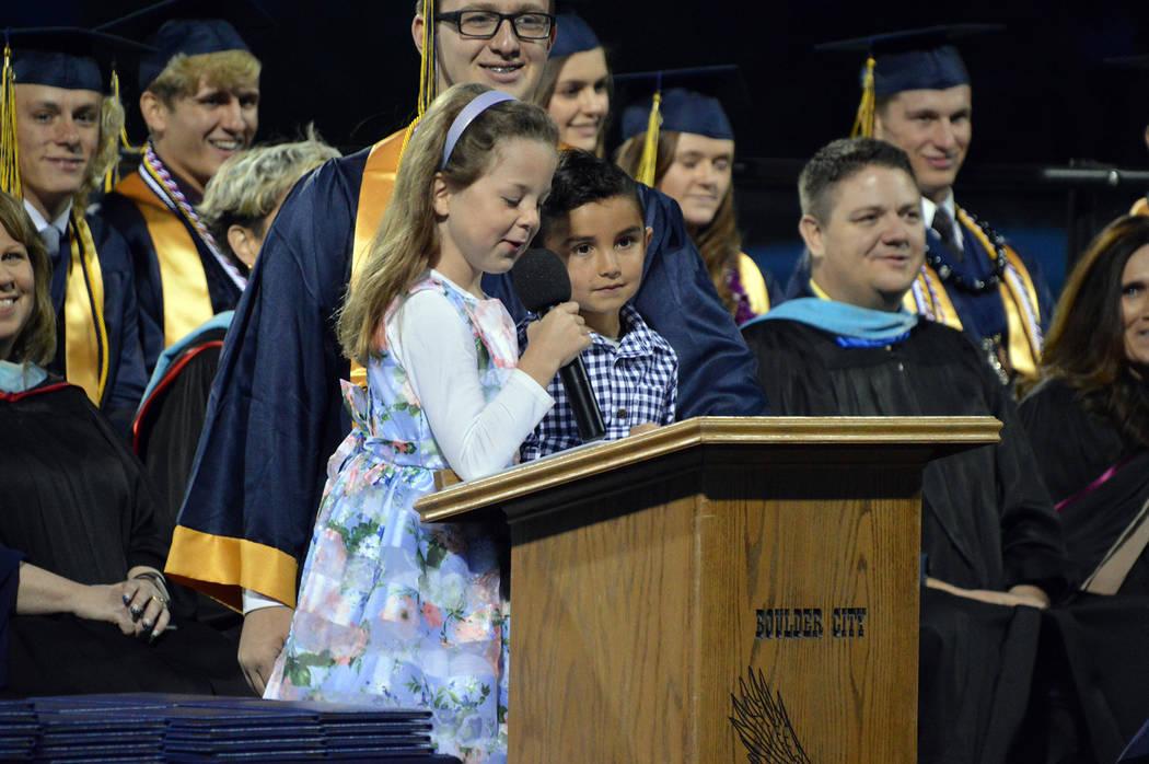 (Celia Shortt Goodyear/Boulder City Review) Class of 2031 members Lexie Wentz and Roman Castane ...