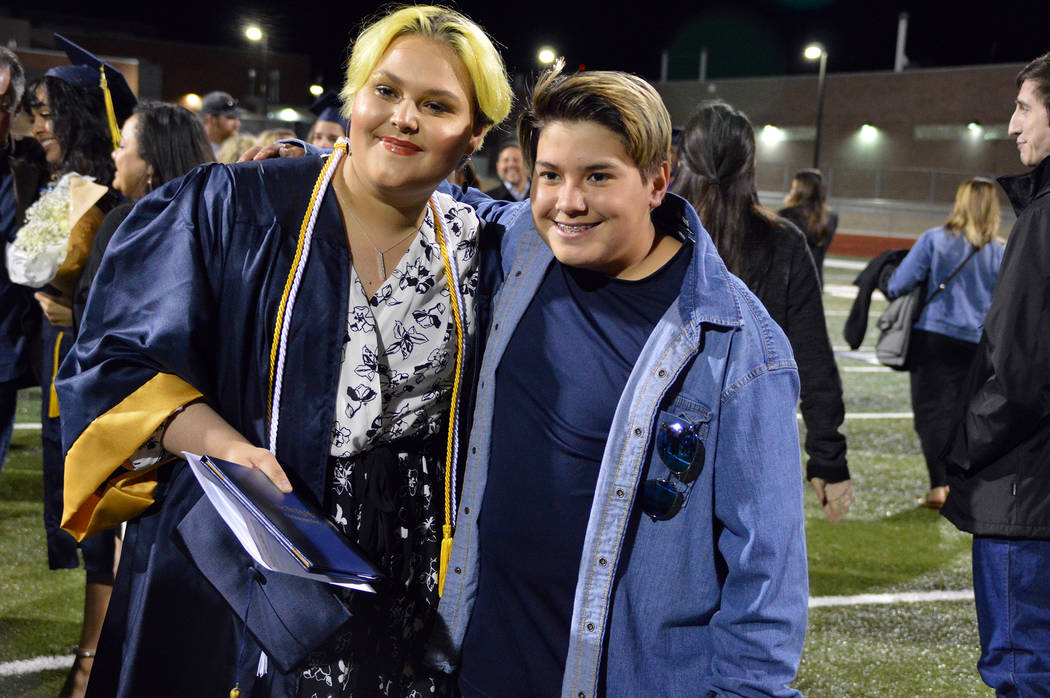 (Celia Shortt Goodyear/Boulder City Review) Haley Loving, left, celebrates with her brother, Je ...