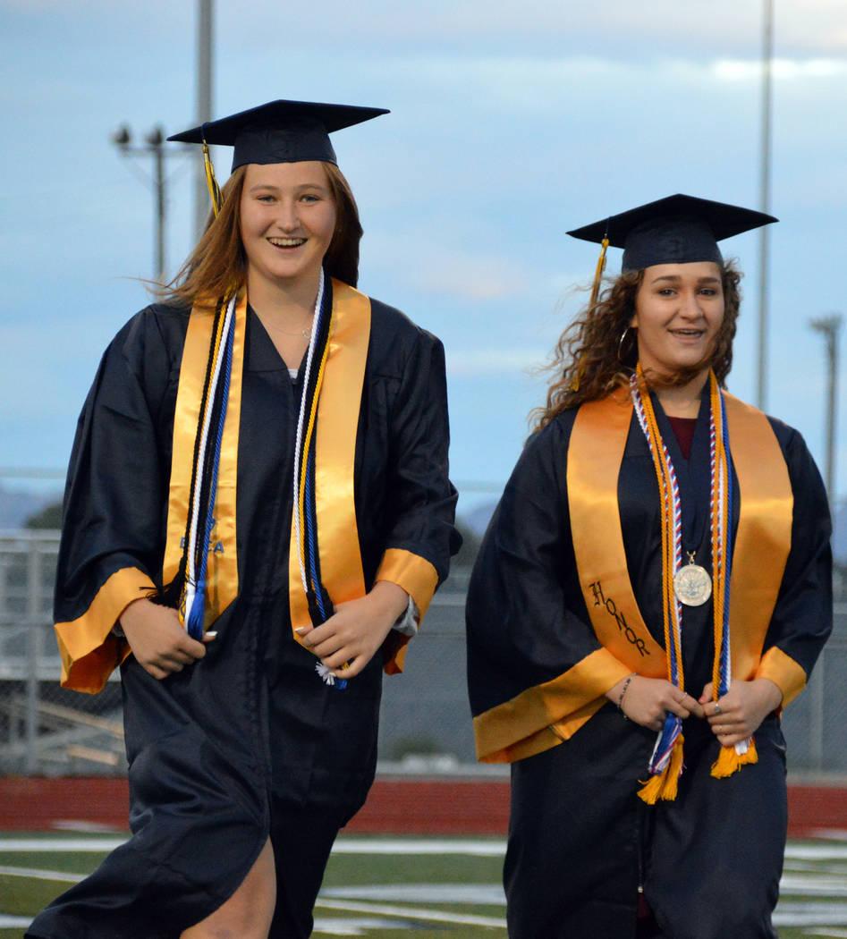 (Celia Shortt Goodyear/Boulder City Review) Boulder City High School graduating seniors Erin Co ...