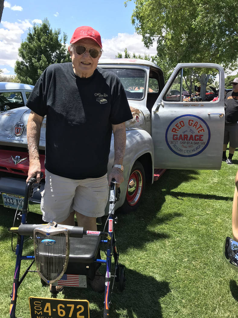 (Hali Bernstein Saylor/Boulder City Review) Jim Amburn of Boulder City brought his 1955 Ford tr ...