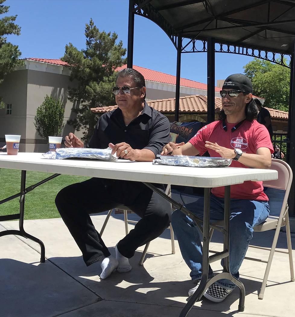 (Hali Bernstein Saylor/Boulder City Review) Mario Rosales, left, and Larry Archuleta, chairman ...