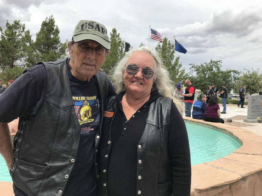 (Hali Bernstein Saylor/Boulder City Review) Brent and Elaine Daniels flew in from Florida to su ...