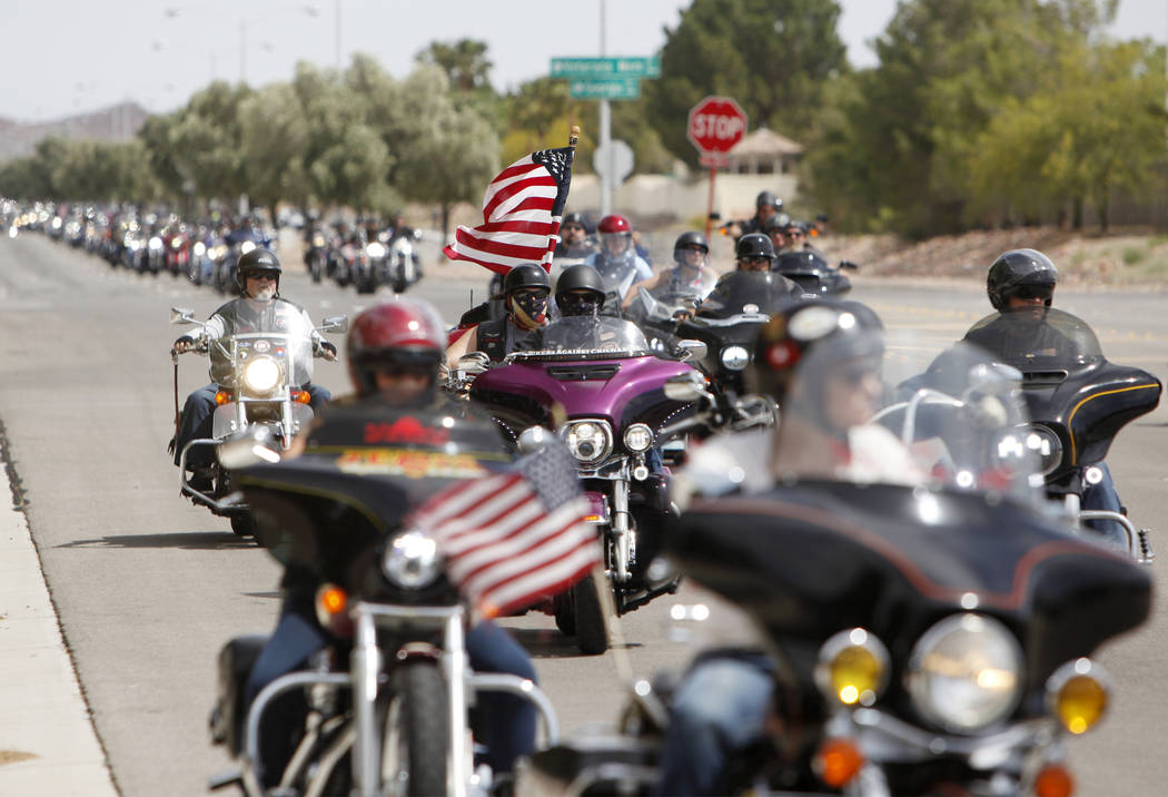 (Rachel Aston/Las Vegas Review-Journal) Hundreds of motorcyclists pull up to the Southern Nevad ...