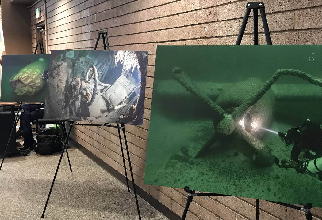 Photos taken of the B-29 Superfortress submerged at the bottom of Lake Mead were displayed at t ...