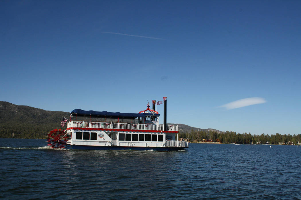 (Deborah Wall) Miss Liberty paddlewheel tour boat offers 90-minute narrated tours of Big Bear L ...