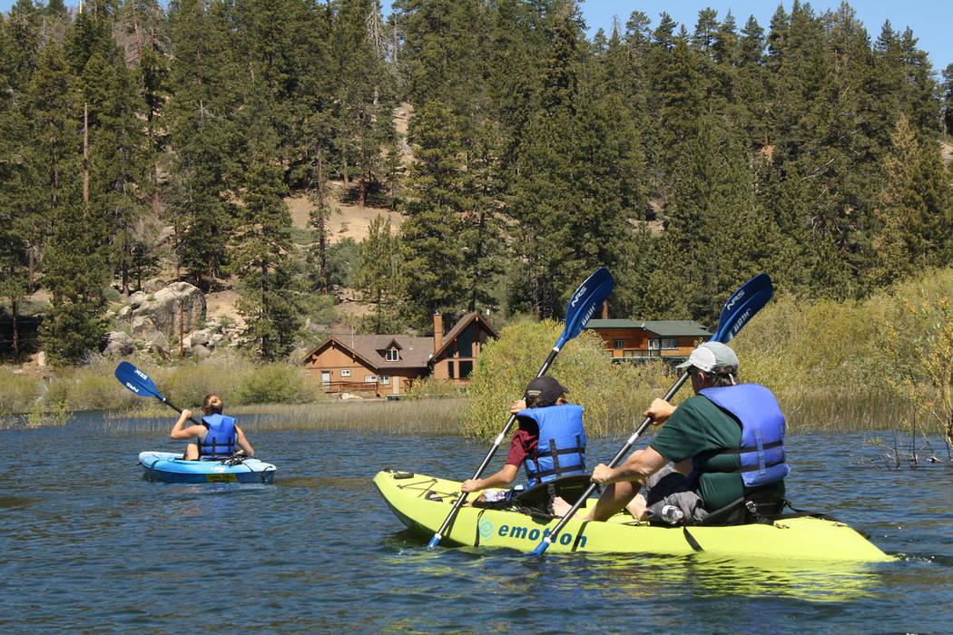 (Deborah Wall) Kayaking, paddleboarding and canoeing are popular ways to explore Big Bear Lake ...