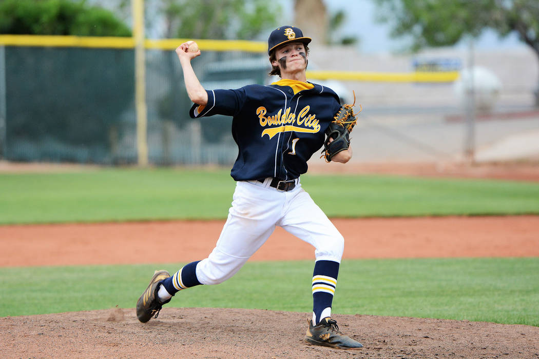 Troy Connell, seen pitching for the Boulder City High School Eagles in May, struck out seven ba ...