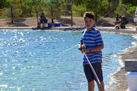 (Celia Shortt Goodyear/Boulder City Review) Twelve-year-old Thomas Friesz casts off at his firs ...