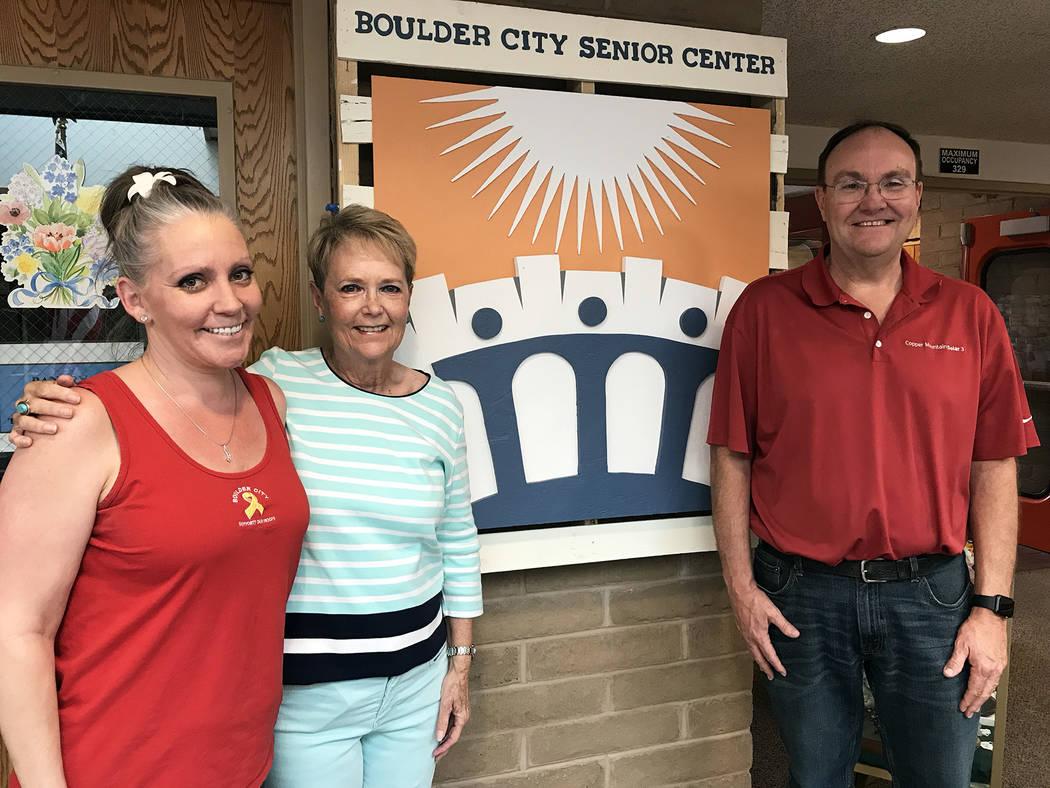 (Hali Bernstein Saylor/Boulder City Review) Victoria Mason, left, and Councilwoman Peggy Leavit ...