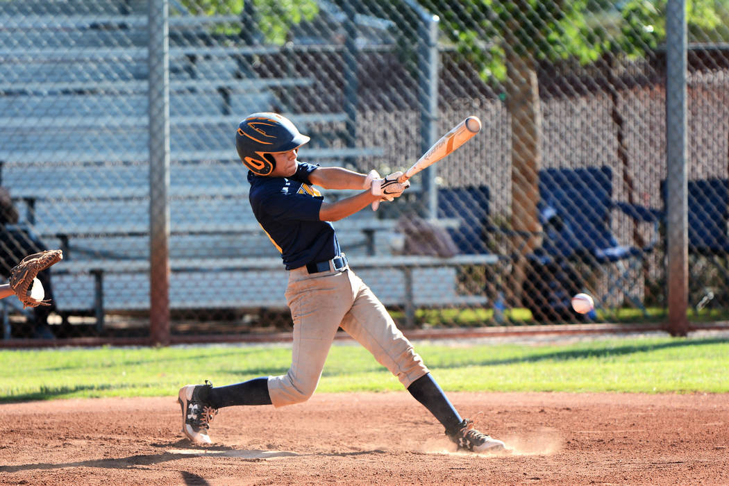 (Robert Vendettoli/Boulder City Review) Matthew Pickens of the Southern Nevada Eagles hits a gr ...