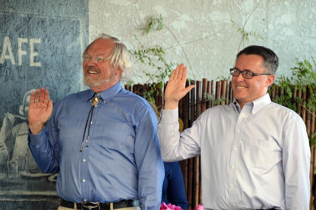 (Celia Shortt Goodyear/Boulder City Review) Randy Hees, left, and David Lusvardi are sworn into ...