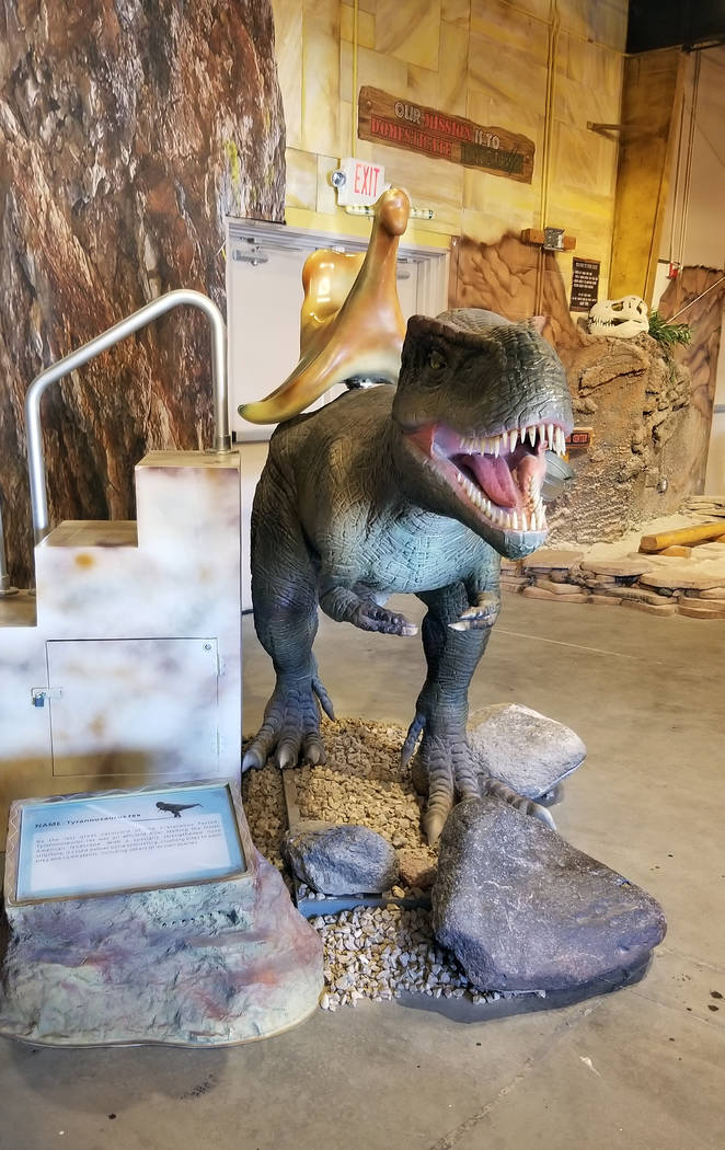 (Celia Shortt Goodyear/Boulder City Review) TJ, a tyrannosauras rex, is one of two lifesize mec ...