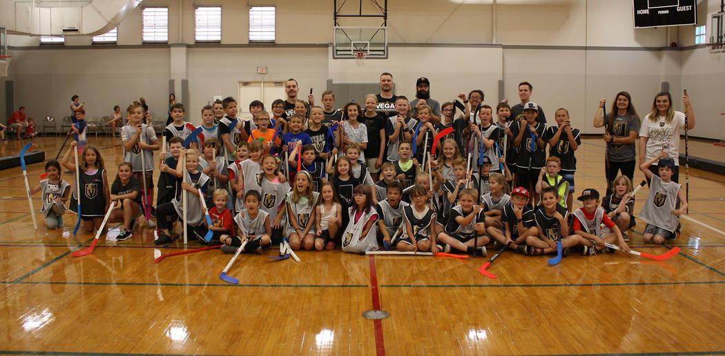 (Kelly Lehr) Nearly 60 children participated in a hockey clinic presented by the Boulder City P ...
